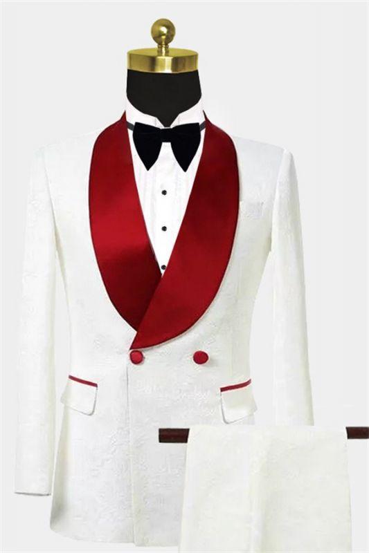 Double Breasted Floral White Men Suits   Unique Two Pieces Slim Fit Tuxedo