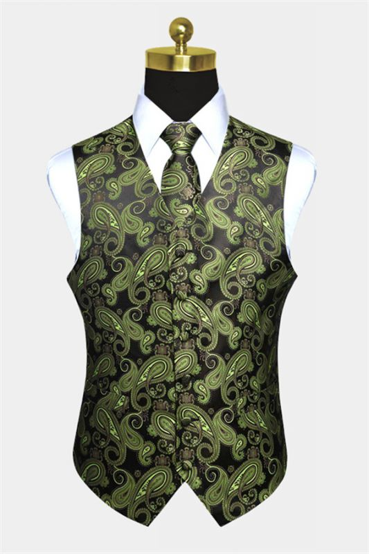 Stylish Olive Green Paisley Mens Vest Set