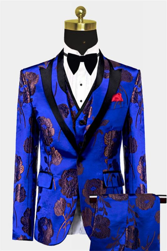 Bronze Royal Blue Floral Tuxedo Online | Tailored Three Pieces Men Suits