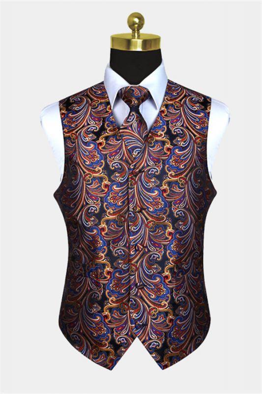 New Arrival Colorful Paisley Mens Vest wit Tie