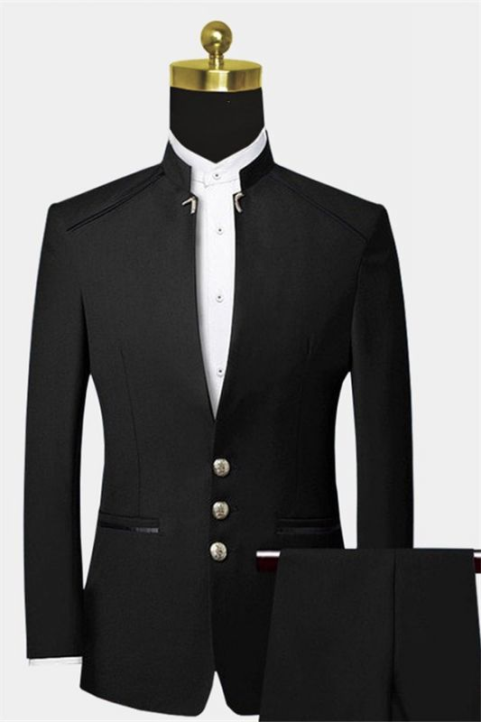 Formal Mandarin Collar Black Suits for Men   Custom Slim Fit Two Pieces Tuxedo