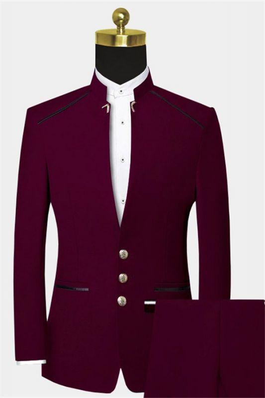 Burgundy Mandarin Collar Suit | 2 Pieces Men Prom Suits
