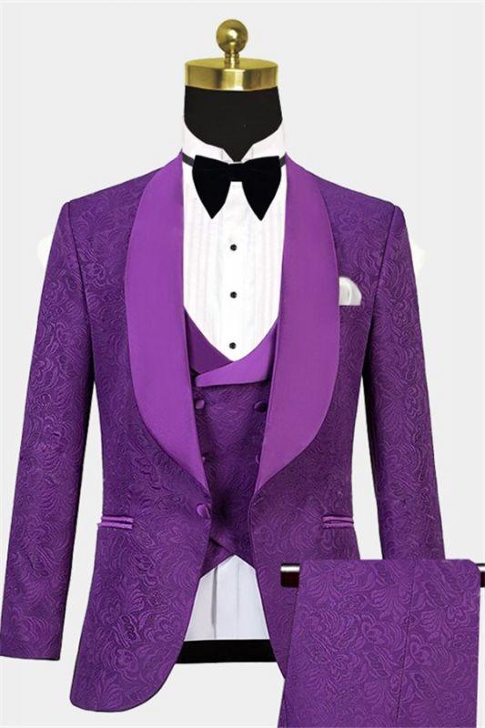 Vintage Jacquare Violet Men Suits | 3 Pieces Prom Suits