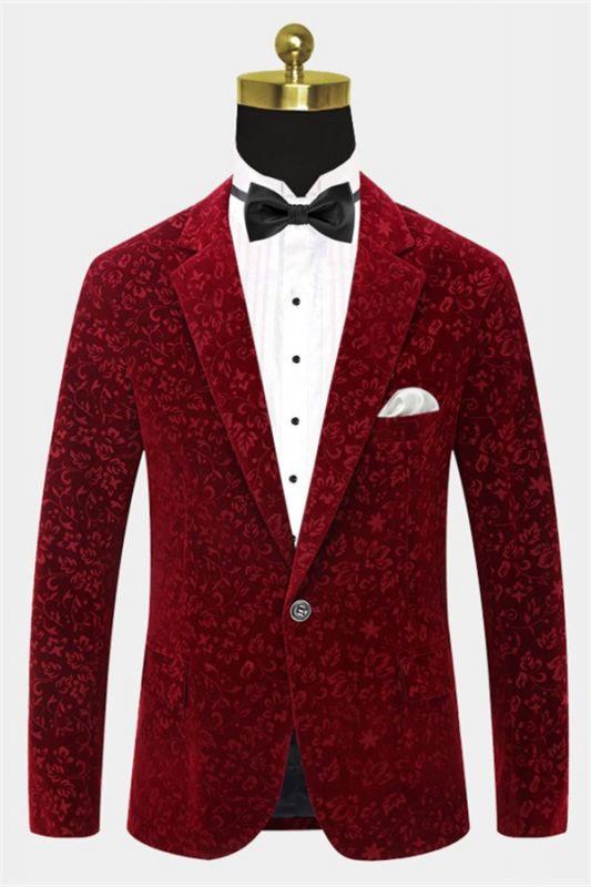 Burgundy Floral Velvet Blazer   Fashion Suit Sizes for Men