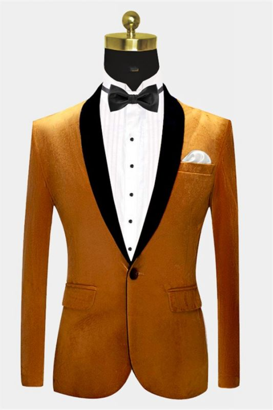 Gold Velvet Tuxedo Jacket with One Button | Classic Suit Sizes for Men