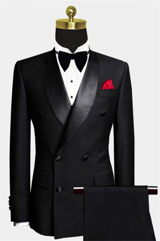 Black Double Breasted Wedding Tuxedo | Luxury Business Men Suits with 2 Pieces