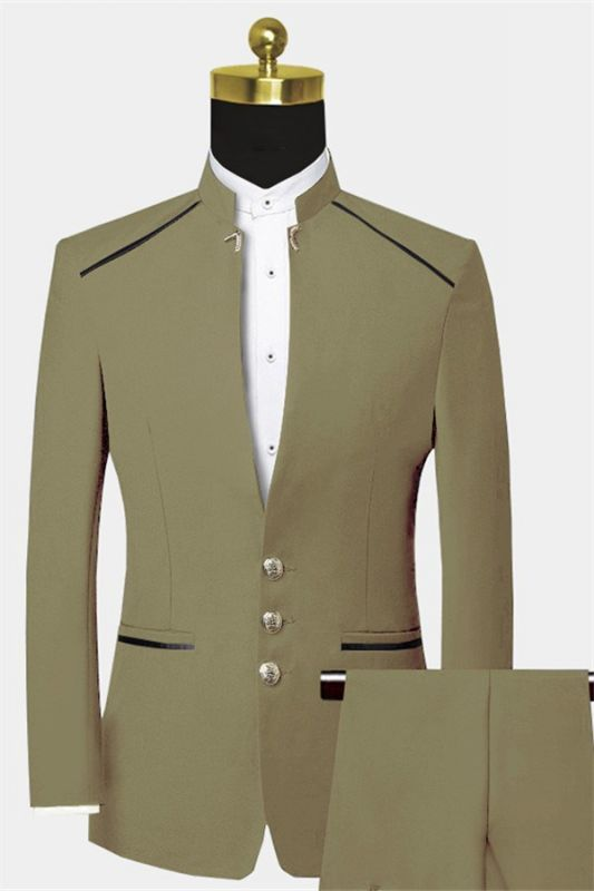 Cheap Mandarin Collar Suit | Custom Two Pieces Men Suits for Prom