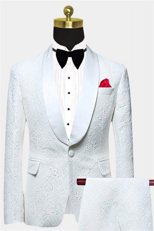 White Jacquard Wedding Men Suits | Elegant Two Piece Shawl Lapel Groom Suits