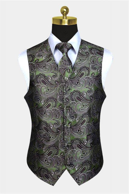 Tailored Olive Green Paisley Mens Waistcoat
