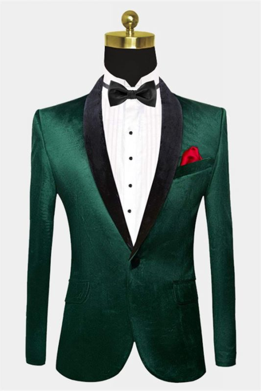 Green Velvet Tuxedo Jackets | Declan One Piece Prom Suits