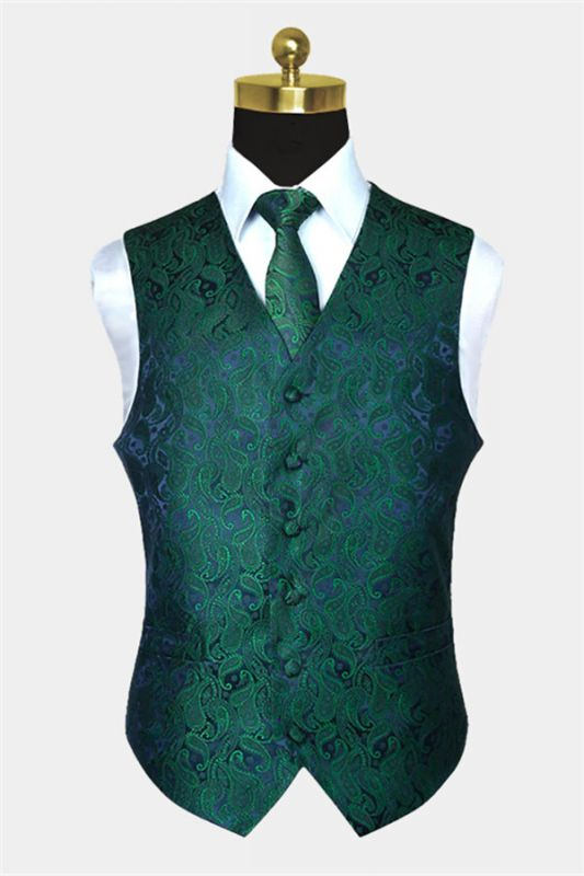 Dark Green Paisley Vest Set for Sale Online