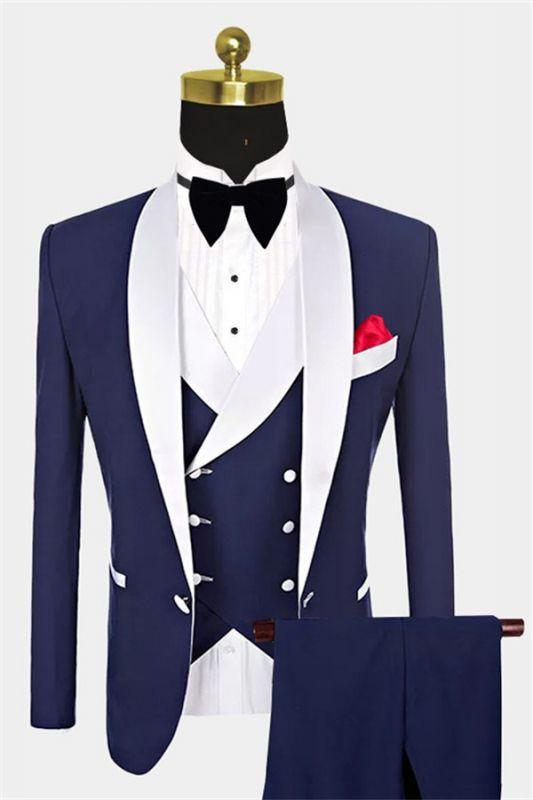 Navy Blue Groomsmen White Shawl Lapel | One Button Wedding Tuxedos 3 Pieces