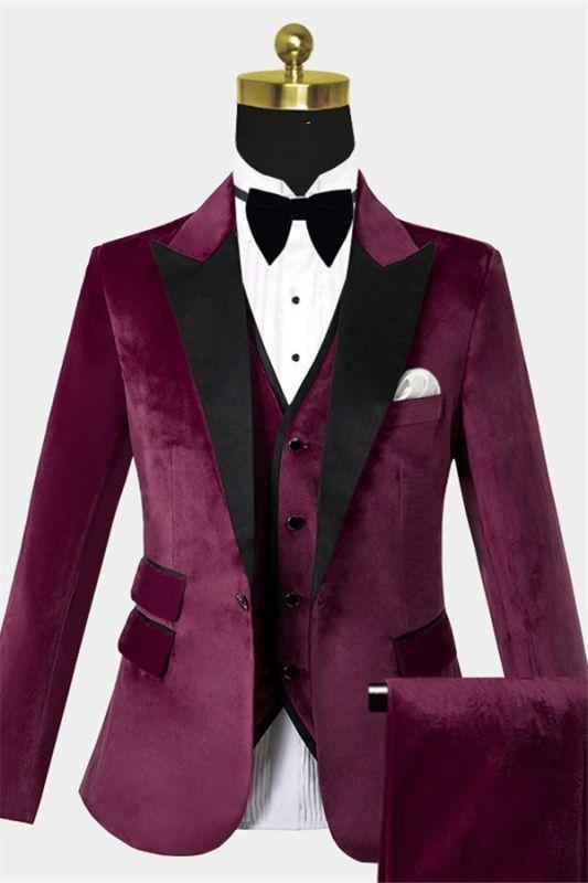 Burgundy Velvet Three Pieces Tuxedo | Peak Lapel Prom Suits For Men