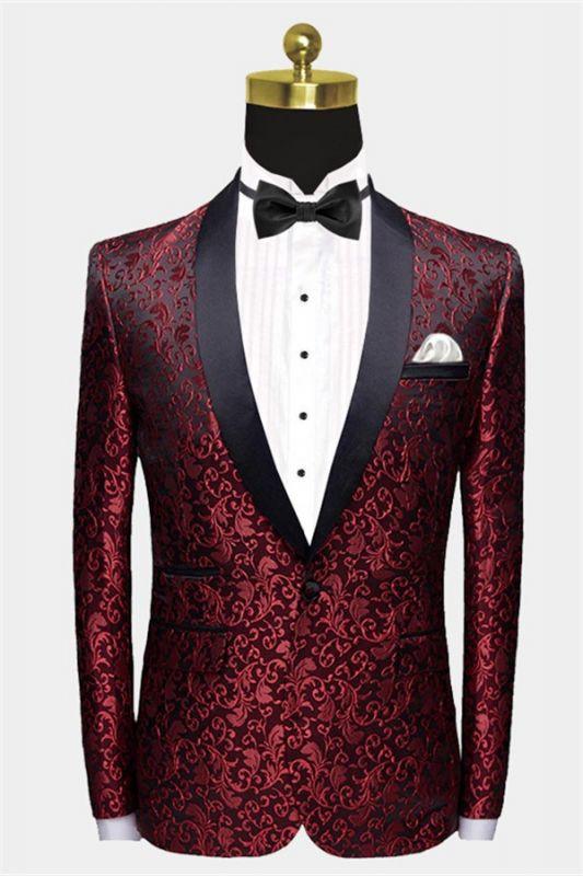 Burgundy Paisley Tuxedo Jacket   Glamorous Jacquard Blazer for Prom