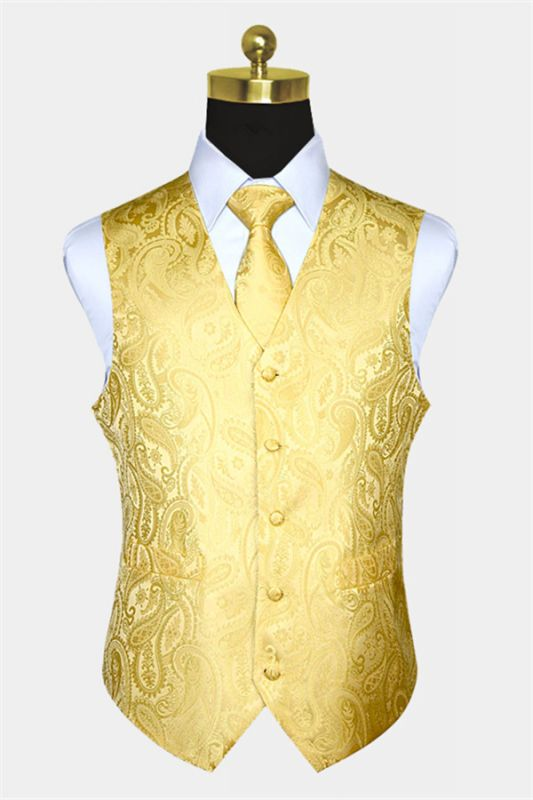Silk Yellow Paisley Vest with Tie Set