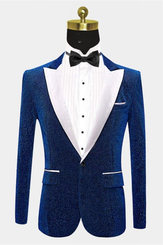 Glitter Blue Sequin Tuxedo Jacket | Cheap Slim Fit Prom Men Suits Online