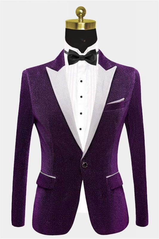 Shiny Purple Sequin Blazer Online | Peak Lapel Glitter Prom Men Suits