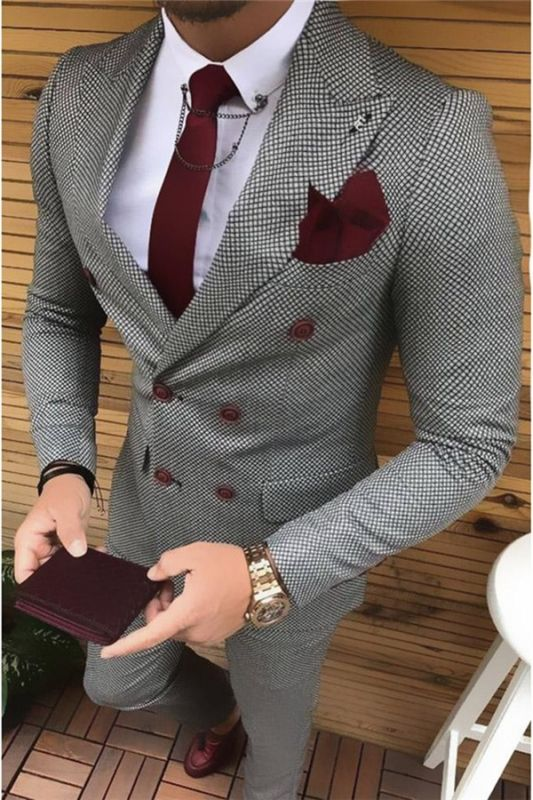 Black and White Bird Eye Double Breast Tuxedo | Fashion houndstooth Men Suits 2 Pieces