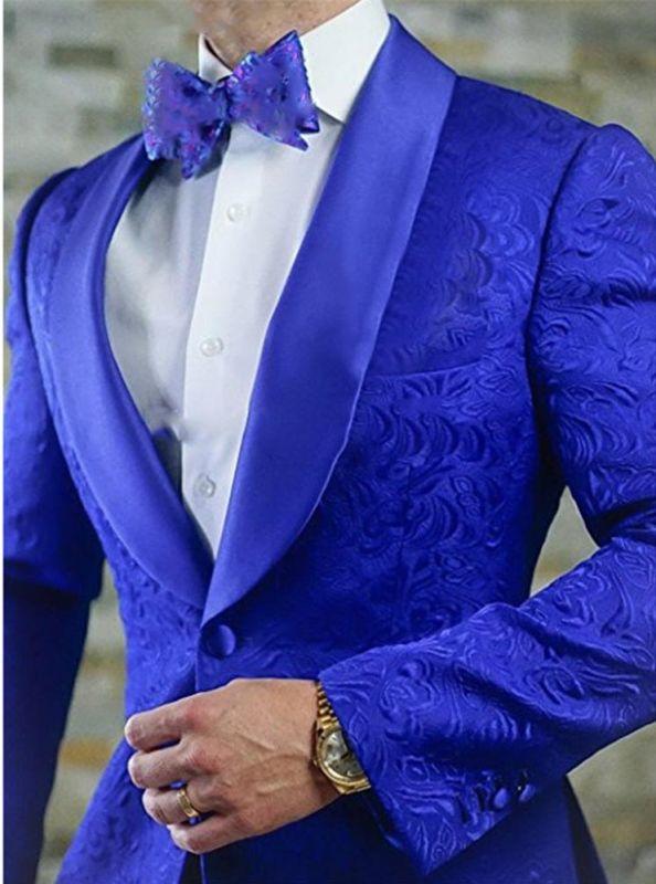 Royal Blue Shawl Lapel Groomsmen Tuxedos | Jacquard Men Suits Prom Best Man Blazer 2 Pieces