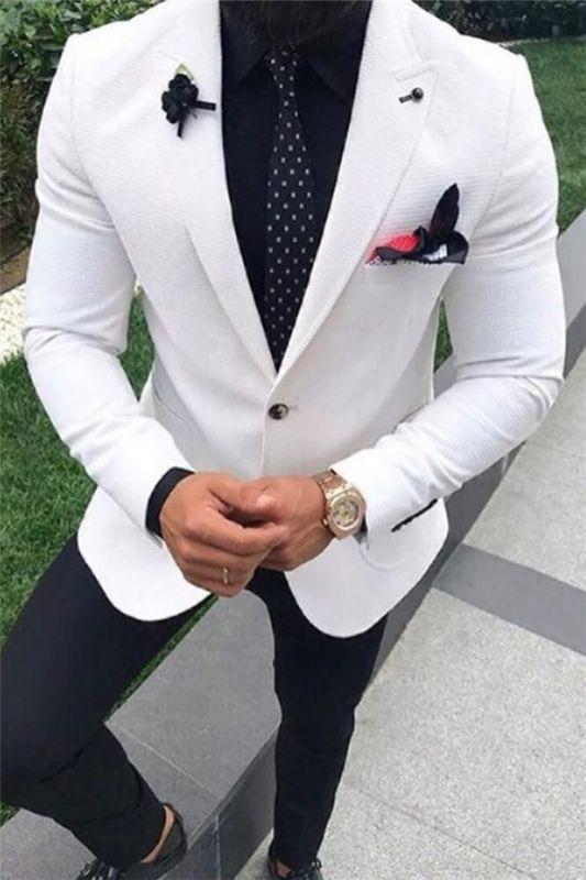 White Wedding Suit for Men   Peak Lapel Tuxedo Two Pieces