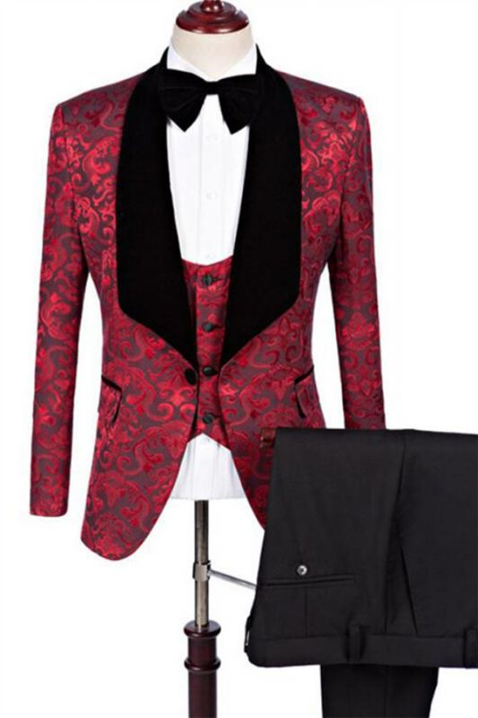 Ruby Flower Slim Fit Pattern Prom Suits | Fashion Three Pieces Jacquard Men Suits