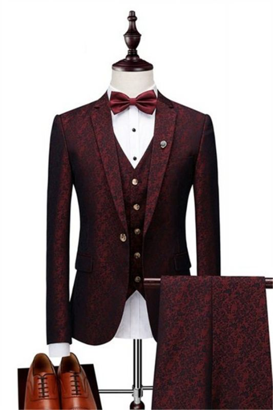 Wine Ruby Notched Laple Prom Suits for Men | Bespoke Three Pieces Jacquard Tuxedo