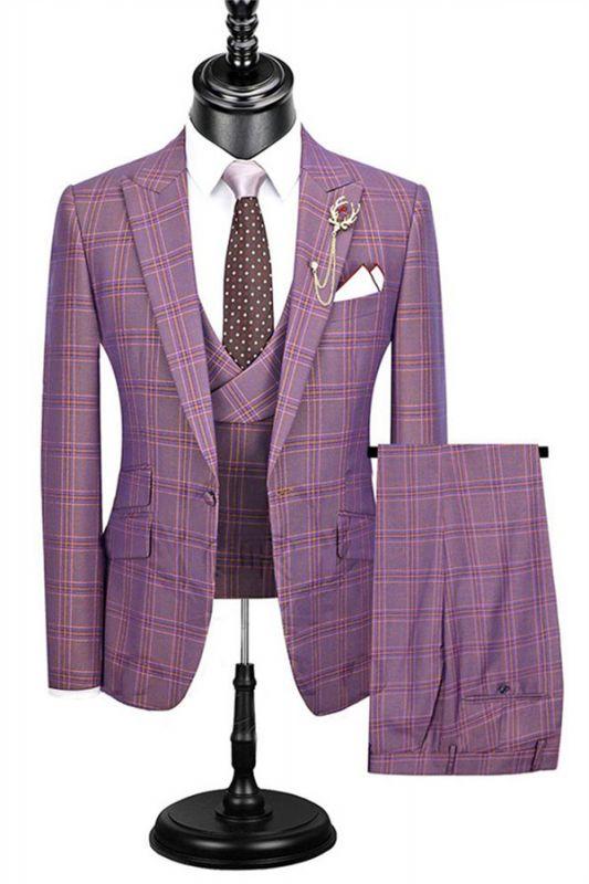 Fashion Slim Fit Dress Suit | 3 Pieces Plaid Checked Prom Tuxedo