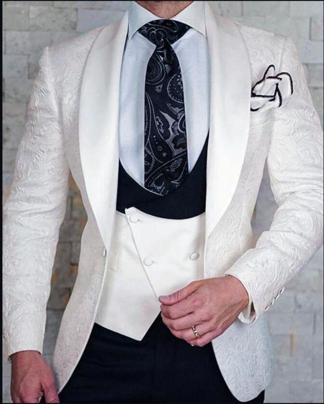 White Groom Pattern Wedding Tuxedo   Jacquard Slim Fit 3 Pieces Men Suits Online