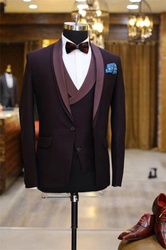 Brenden Purple Slim fit Prom Suit | Three Pieces Shawl Lapel Tuxedo