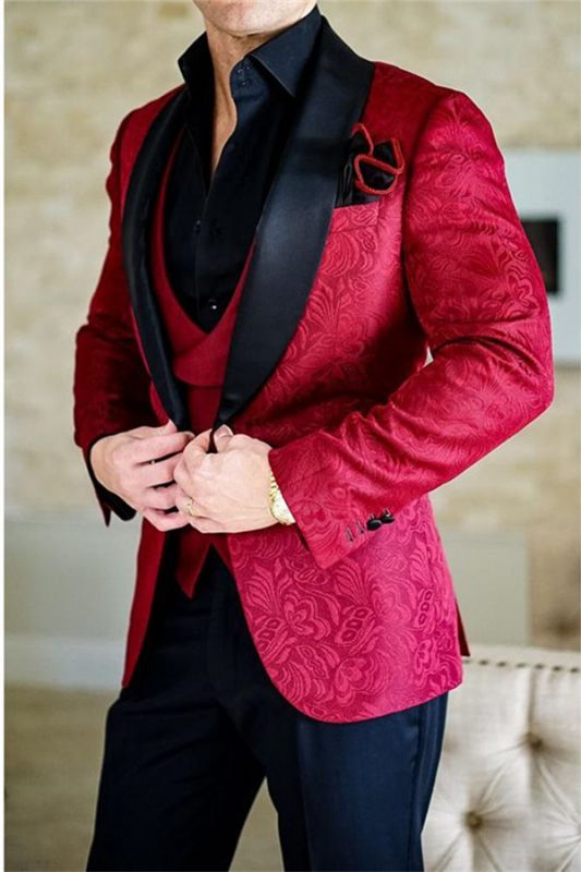 Red Shawl Lapel Jacquard Tuxedos   Mens Suits Dinner Jacket 3 Pieces for Groomsman