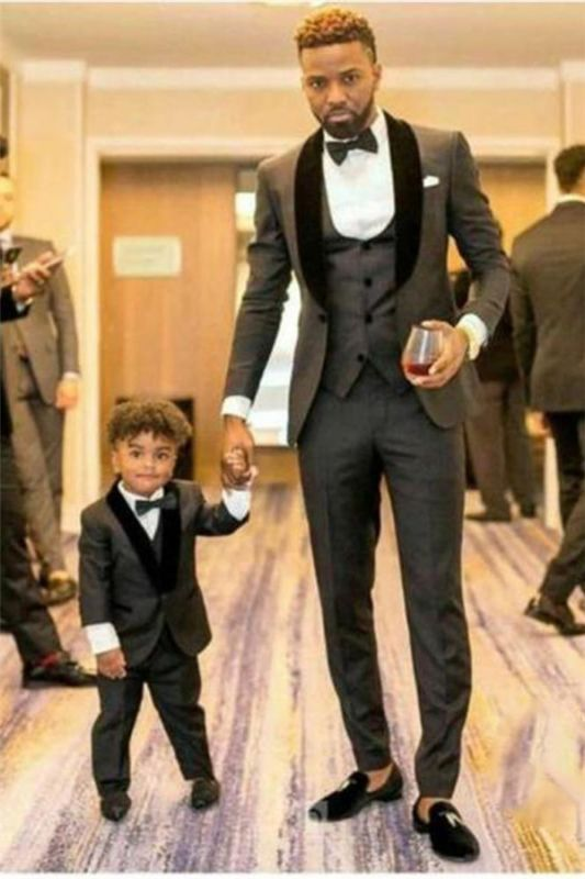 Shawl Lapel Gray and Black Wedding Suit | Tailored Groomsmen Tuxedos 3 Pieces