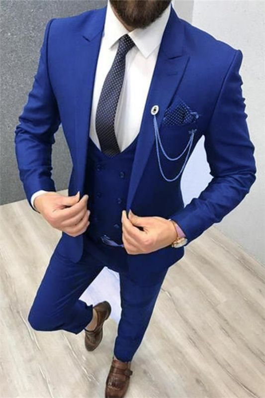 New Royal Blue Groomsmen Dress Suits   Three Piece Prom Suits for Men