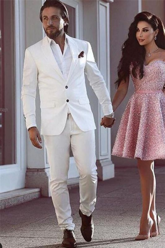 Tailor Made White Groom Tuxedos | Glamorous Wedding Suits for Men 2 Pieces
