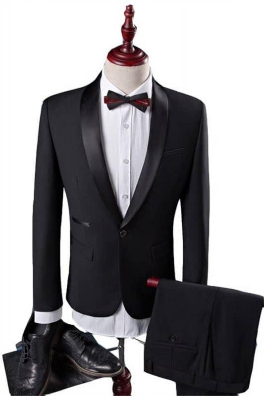 New Arrival Black Groom Tuxedos Groomsmen | Shawl Lapel Best Men Suit Bridegroom Wedding Prom Suits