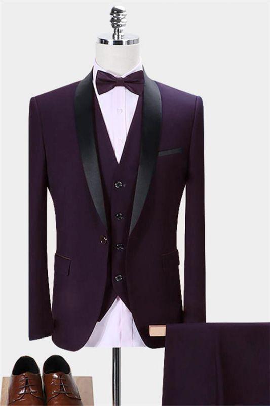 Dark Purple Business Tuxedos   Glamorous Slim Fit Men Dress Prom Suits 3 Pieces