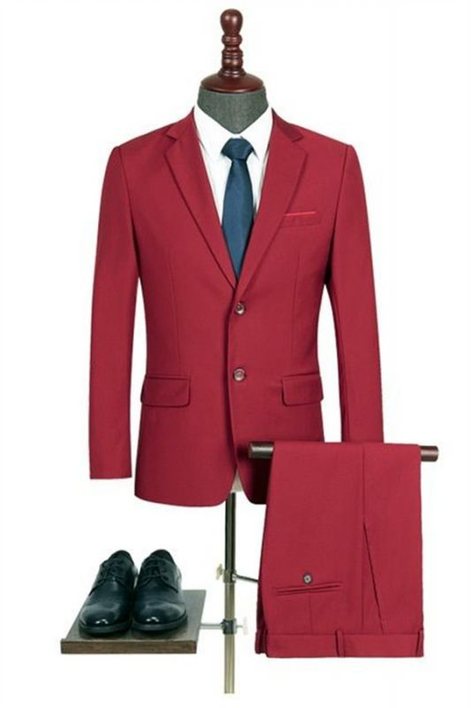Newest Red Notched Lapel Men Suits   Bespoke Two Pieces Prom Suits for Men