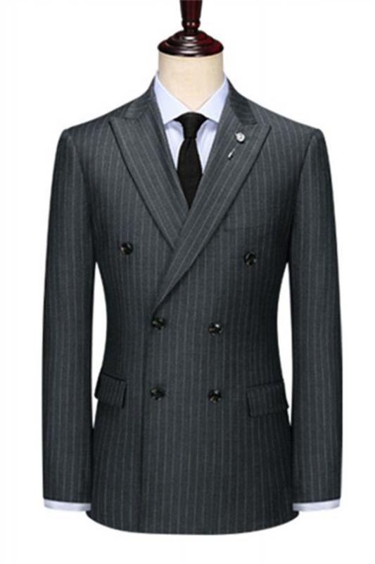 Double Breasted Black Men Jacket   Peak Lapel Grey Stripe Blazer Online
