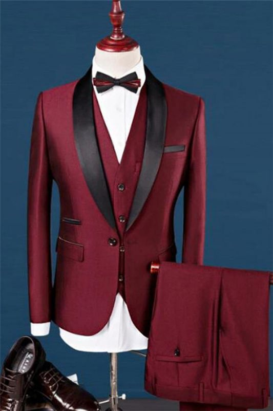 Wine Red Shawl Lapel Wedding Tuxedos | Dress Prom Men Suits 3 Pieces