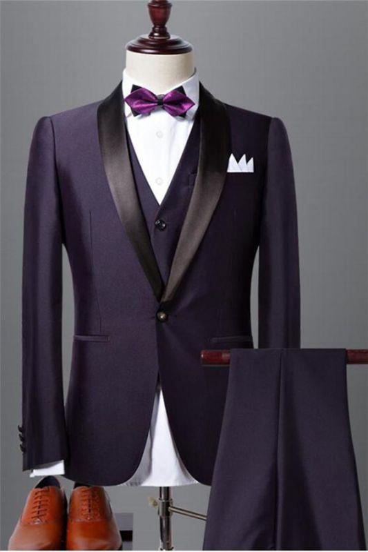 Classic Dark Purple Shawl Lapel Black Wedding Tuxedo| Bespoke Prom Dress Suit 3 Pieces