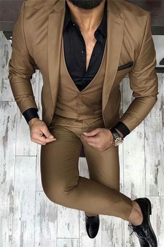 Chocolate Brown Three Piece Prom Men Suits   Fashion Slim Fit Dress Suit