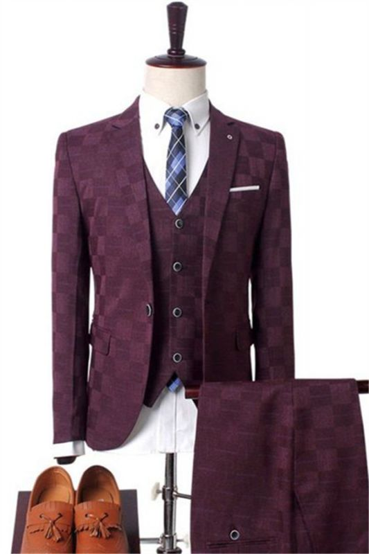 Dark Red Plaid Business Men Suits | Prom Men Suits with 3 Pieces