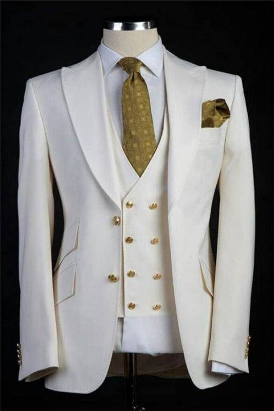 White Wedding Groom Suits   Bespoke Gold Buttons Tuxedos for Men 3 Pieces