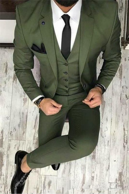 Olive Slim Fit Prom Suit Online | Bespoke Outfits Tuxedo for Graduation ,Wedding Suit Three Pieces