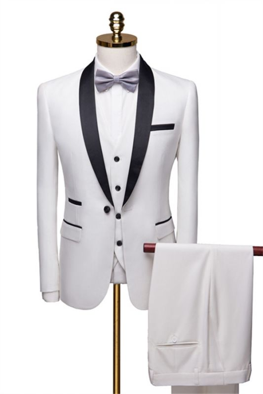 New Fashion White Shawl Lapel Men Suit | Casual Slim Fit Prom Groom Business Host Wedding Suit Tuxedos