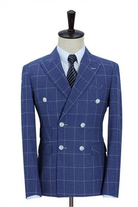Double-Breasted Ocean Blue Business Men Blazer   Men's Wedding Plaid Slim Fit Tuxedo