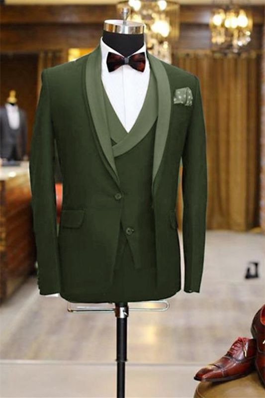 Newest Olive Green Shawl Lapel Tuxedo | 3 Pieces Men Prom Dress Suits Tuxedos