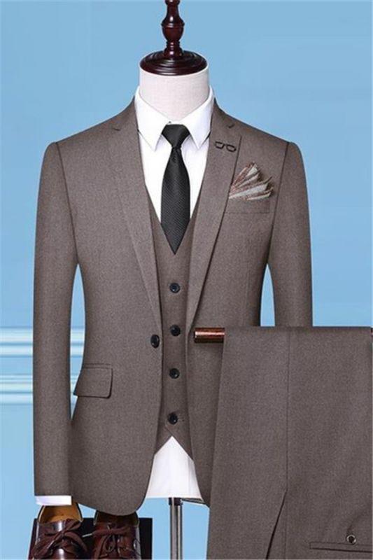 Groom Tuxedos Brown Men Suits | Fashion Side Vent Best Man Suit Wedding Tuxedo