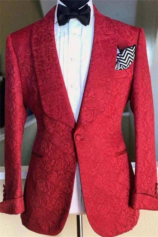 Red Jacquard Floral Patter Jacket for Men | Wedding Formal Groomsman Suits Blazer