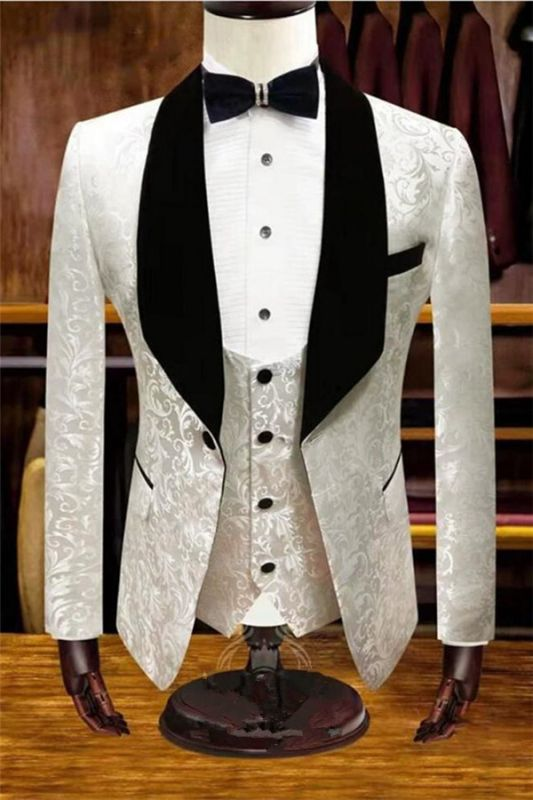 White Jacquard Wedding Tuxedos | Velvet Lapel Men Suits for Groom 3 Pieces