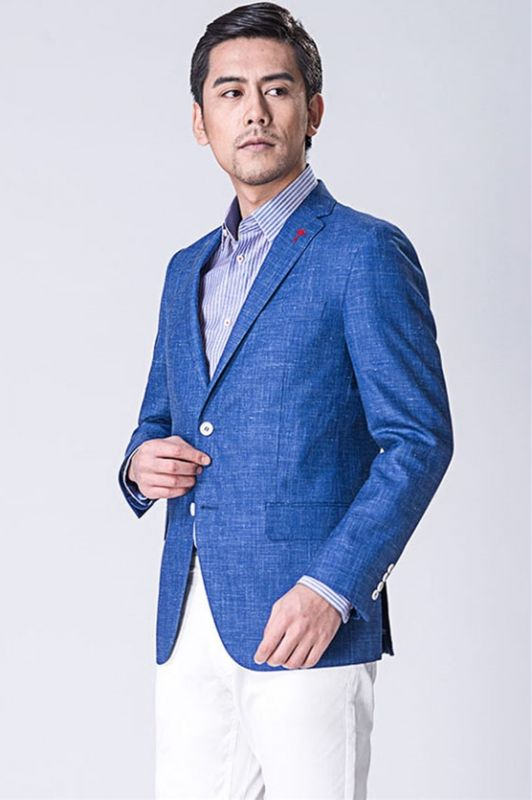 Blue blended Blazer | Formal Business Jacket with Two Button